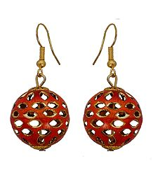 Metal Red Ball Dangle Earrings