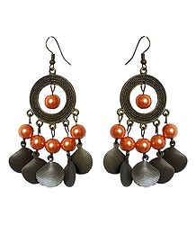 Metal Hoop Earrings with Peach Color Beads