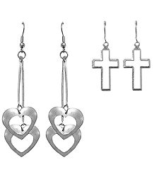 Set of 2 Pairs Metal Heart and Cross Earrings