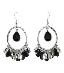 Hoop Earrings with Black Stone Jhalar