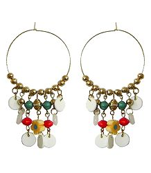 Hoop Earrings with Multicolor Beads