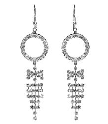 White Stone Studded Metal Jhalar Earring