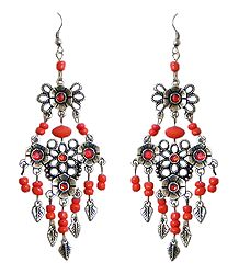Red Beaded Oxidised Metal Earrings