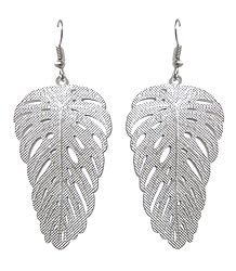 Metal Leaf Dangle Earrings with Fish Hook