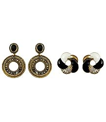 Set of 2 Pairs Metal Hoop and Spiral Stud Earrings