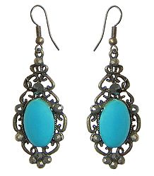 Pair of Oxidized Hook Earrings with Faux Turquoise Stone