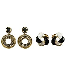 Set of 2 Pairs Metal Hoop and Stone Studded Spiral Stud Earrings