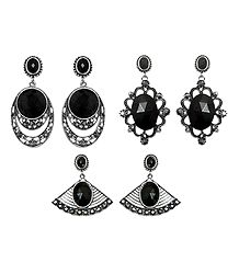 Set of 3 Pairs Black Stone Studded Dangle Earrings