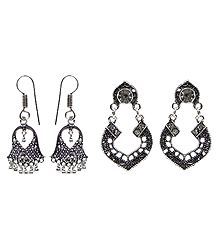 Oxidised Carved Dangle Earrings