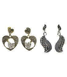 Set of 2 Pairs Oxidised Carved Metal Dangle Earrings