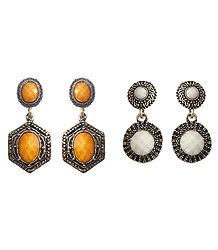 Set of 2 Pairs Oxidised Metal Dangle Earrings with Yellow and White Stone