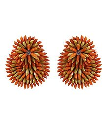 Saffron with Beige Paddy Earrings