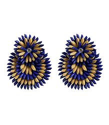 Blue with Beige Paddy Earrings