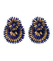 Blue with Beige Paddy Earrings