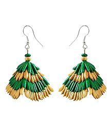 Green with Beige Paddy Jhumka Earrings