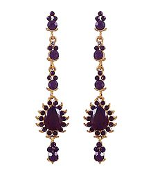 Dark Purple Stone Studded Dangle Earrings