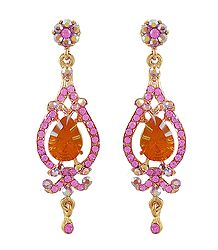 Orange and Magenta Stone Studded Dangle Earrings
