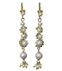 Faux White Pearl Metal Drop Earrings