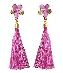 Pink Silk Thread Earrings
