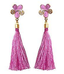 Pink Silk Thread Earrings