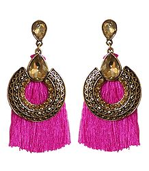 Dark Pink Silk Thread Earrings