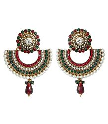 White, Green and Maroon Stone Studded Earrings with White Beads