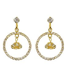Pair of Stone Studded and Gold Plated Metal Hoop Earrings