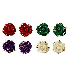 Set of 4 Pairs Red, Green, Purple and Off-White Rose Earrings