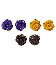 3 Pairs of Acrylic Rose Earrings