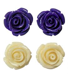 Set of 2 Pairs Purple and Off-White Rose Earrings