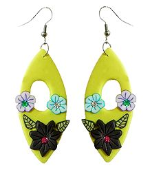 Yellow Floral Rubber Earrings
