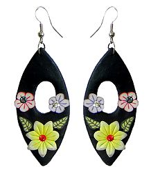 Black Floral Rubber Earrings