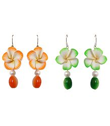 Set of 2 Pairs Floral Earrings