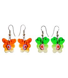 Set of 2 Pairs Butterfly Earrings