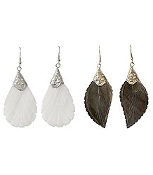 2 Pair of Leaf Shell Earrings