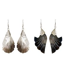 Shop Online 2 Pairs of Leaf and Flower Shell Earrings