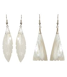 2 Pairs of Leaf Shell Earrings