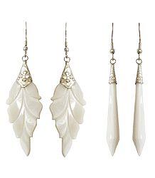 Shell Leaf and Drop Earrings
