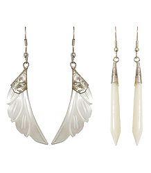 2 Pairs of Shell Leaf and Drop Earrings