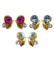 Set of 3 Pairs of Magenta, Blue and Yellow Stone Studded Earrings