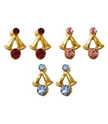 Set of 3 Pairs Stone Studded Small Earrings