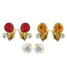 Set of 3 Pairs Small Stone Studded Earrings