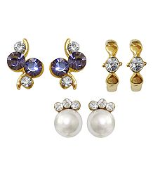 Set of 3 Pairs Purple, White Stone Studded Earrings