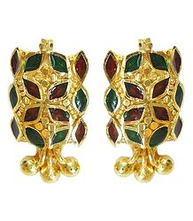 Red and Green Laquered Gold Plated Stud Earrings