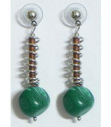 Green Stone Bead Earrings