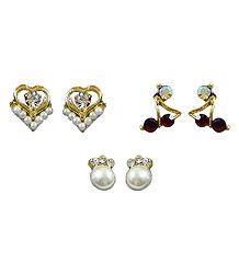 Set of 3 Pairs Stone Setting Stud Earrings
