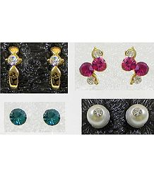 Set of 4 Pairs Stone Setting Stud Earrings