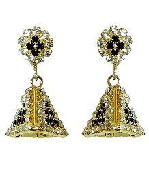 Gold Plated and Stone Studded Jhumka Earrings