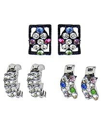 Set of 3 Pairs Multicolor Stone Studded Earrings