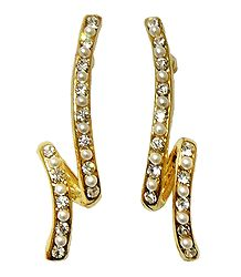Pair of White Stone Studded Designer Push Earrings